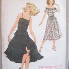 Vintage 70's Simplicity 8688 Summer Party Dress Pattern Spaghetti Straps Ruffled Skirt Uncut