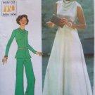 Vintage 70s Simplicity 6653 Cowl Neck Evening Dress Pantsuit Pattern Uncut Size 12