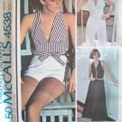 Vintage 70's McCall's Summer Halter or Back Button Top Shorts Pants Pattern Uncut Size 12