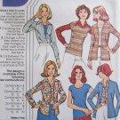 Vintage 70s McCall's 4617 Scoop Neck Top Cardigan Front Button Shirt Pattern Uncut Size 8-12