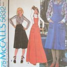 Vintage 70s McCall's 5632 Bib Jumper Dress or Skirt and Shirt Pattern Uncut Size 12