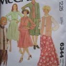 Vintage 1978 McCall's 6344 Long Skirt Vest Top Cowl Collar Raglan Sleeve Top Pattern Uncut