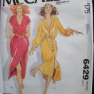 Vintage 70's McCall's 6429 Raglan Sleeve Shirtdress Pattern Front Buttoned Uncut Size 12