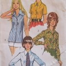 Vintage 1972 Simplicity 5022 Button Front Pointed Collar Blouse and Tie Pattern Uncut Size 12