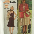 Vintage 70s Simplicity 6259 Sleeveless Tunic Flared Skirt Cardigan Dress Pattern Uncut Size 12