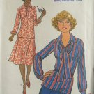 Vintage 70s Simplicity 8084 Pointed Collar Tunic Top Skirt Scarf Dress Pattern Uncut Size 12