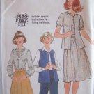 Vintage 70s Simplicity 8439 Sleeveless Vest Blouse and Skirt Pattern Uncut Size 12