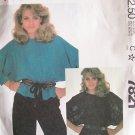 Retro 80s McCall's 7821 Batwing Peplum Blouse Pattern Uncut Size 18-20