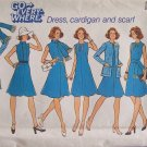 Vintage 70s Simplicity 6850 Sleeveless Flared Dress Cardigan Scarf Pattern Uncut Size 12