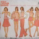 Vintage 70s Simplicity 6973 Tank Top Cardigan Flared Skirt Pants Shorts Pattern Uncut Size 14
