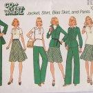 Vintage 70s Simplicity 7070 Shirt Jacket Bias Skirt Pants Sewing Pattern Uncut Size 12