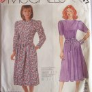 Retro 80s McCall's 2747 Dropped Waist Jewel Neckline Dress Pattern Uncut Size 6-10