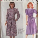 McCall's 2847 Retro 80s Jewel Neckline Dropped Waist Dress Pattern Uncut Size 10-14