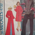 McCall's 4732 Vintage 70s Housecoat or Chinese Button Jacket Pattern Uncut Size 10-12