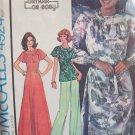 Vintage 70s McCall's 4924 Raglan Sleeve Keyhole Neck Maxi Dress Pattern Uncut Size 12