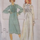 Vintage Butterick 5163 Empire Waist Nightgown Pattern Uncut Size 12 Long Sleeve Peter Pan Collar