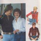 Vintage 70s Butterick 5007 Men's Yoked Western Shirt Pattern Embroidery Transfer Uncut