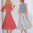 Vintage 70s Butterick 6450 Front Button Dress and Vest Pattern Uncut Size 14