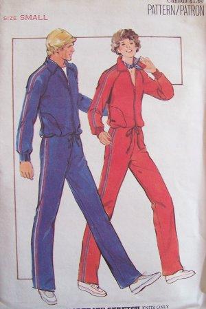 Vintage 70s Butterick 5199 Retro Jogging Suit Pattern Uncut Size 8-10 Jacket Pants