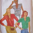 Vintage 70s Butterick 6955 Mock Wrap Blouse Pattern Sleeveless or Long Uncut Size 12