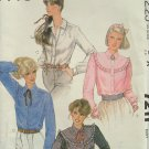 Vintage 80s McCall's 7211 Round Yoked Blouse Pattern Uncut Size 12 Pointed Collar Long Sleeve