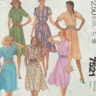Retro 80s McCall's 7521 Sleeveless Shirtdress Pattern Uncut Size 12 Semi Circular Skirt