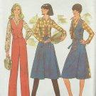 Vintage 70s Simplicity 7675 Back Wrap Skirt Vest Shirt Pants Pattern Uncut Size 12