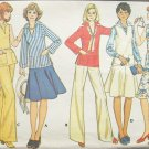 Vintage 70s McCall's 4563 Tunic Length Top Flared Skirt Wide Leg Pants Pattern Uncut Size 12