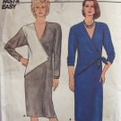 Vintage 80s Butterick 6824 Straight Dress Pattern Long Sleeve Uncut Size 6-10