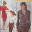 Vintage 80s Butterick 4418 Mock Wrap Pleated Bodice Dress Pattern Uncut Size 14