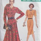 Retro 80s Vogue 7006 Pleated Top Straight or Flared Skirt Dress Pattern Uncut Size 14-18