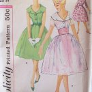 Vintage 50's Simplicity 2954 Wide Collar Full CIrcle Skirt Cummerbund Dress Pattern Size 14