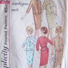 Vintage 1960s Simplicity 4554 Cardigan Suit Dress Pattern Jacket Straight Skirt Size 12