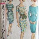 Vintage 60's Simplicity 4541 Slim Wiggle Dress Sewing Pattern Size 12 Square Neck Bateau