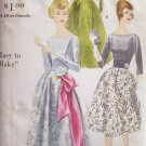 Vintage 50s Vogue 9827 Formal Ball Gown Pattern Uncut Size 12 Deep V Back Long Sleeve