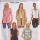 Butterick 3926 Long Button Front Top Pattern Uncut Size 12-16 Pointed Collar Sleeveless or Long