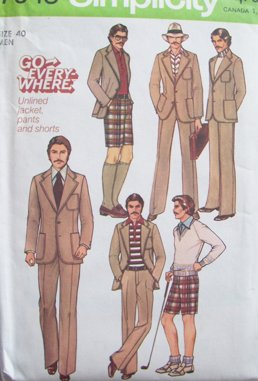 Vintage 70s Simplicity 7946 Men�s Pants Shorts Unlined Jacket Suit Pattern Uncut Size 40
