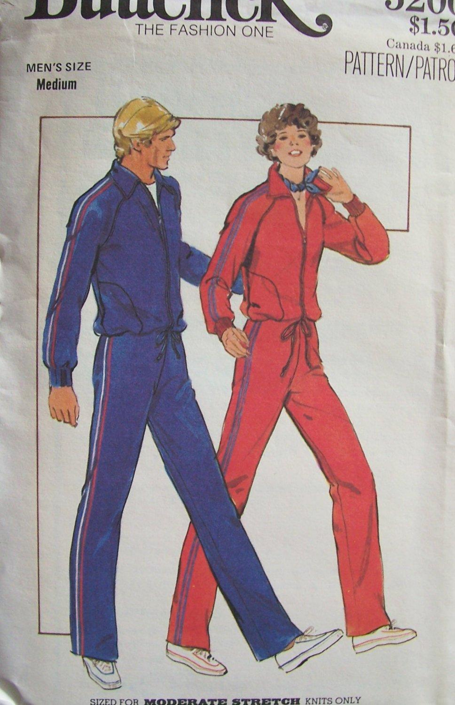 Vintage 70s Butterick 5200 Men�s Athletic Jogging Suit Uncut Pattern Zip Front Jacket Pants
