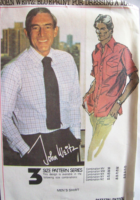 Vintage 70s McCall�s 5741 John Weitz Men�s Dress Shirt Sewing Pattern Uncut Size 38-42