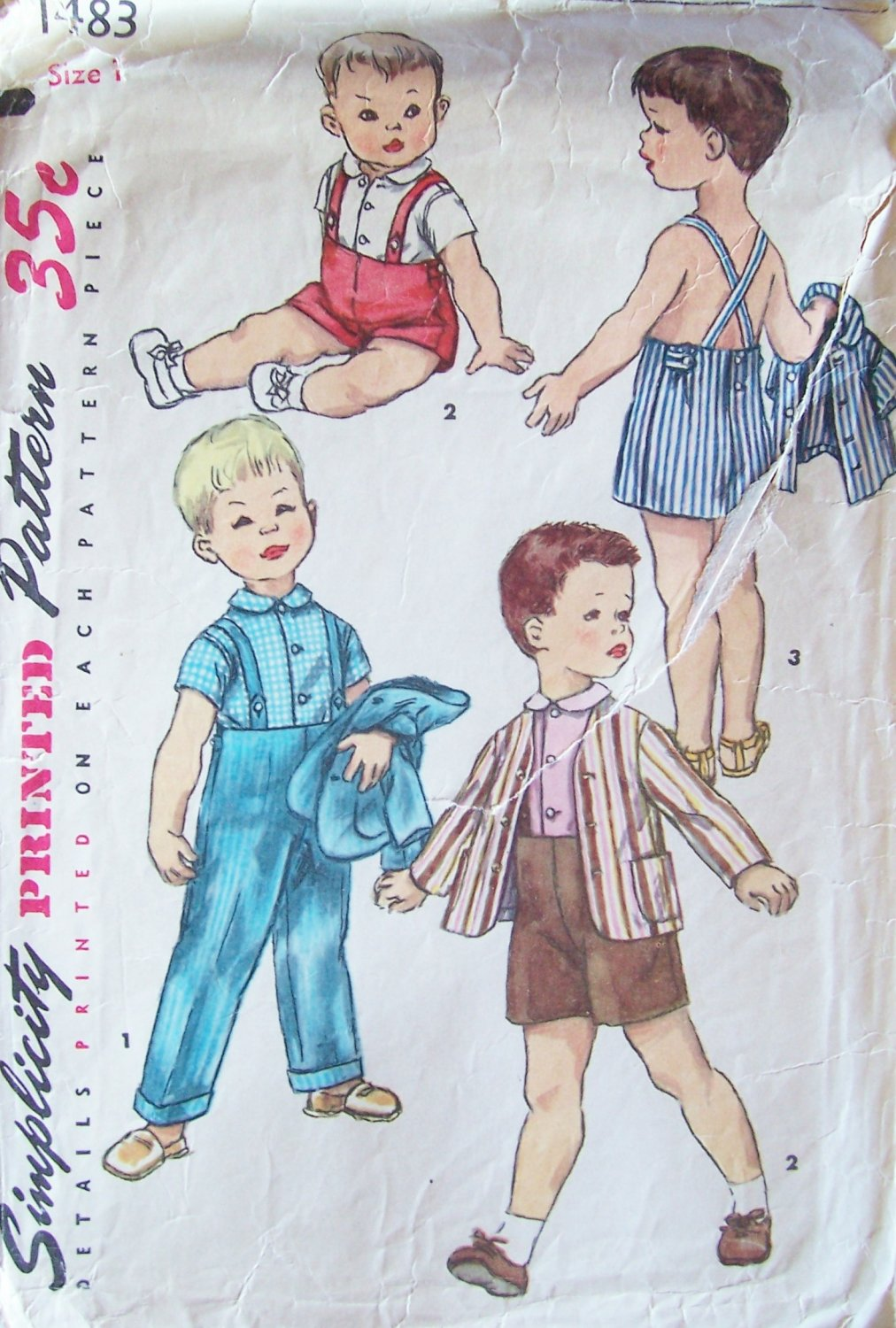 Vintage 50�s Simplicity Toddler Boy�s Playsuit Pattern Jacket Short and Overalls