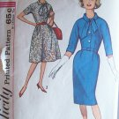 Vintage 60s Simplicity 4697 Kimono Sleeve Dress Straight or Full Skirt Pattern Size 14