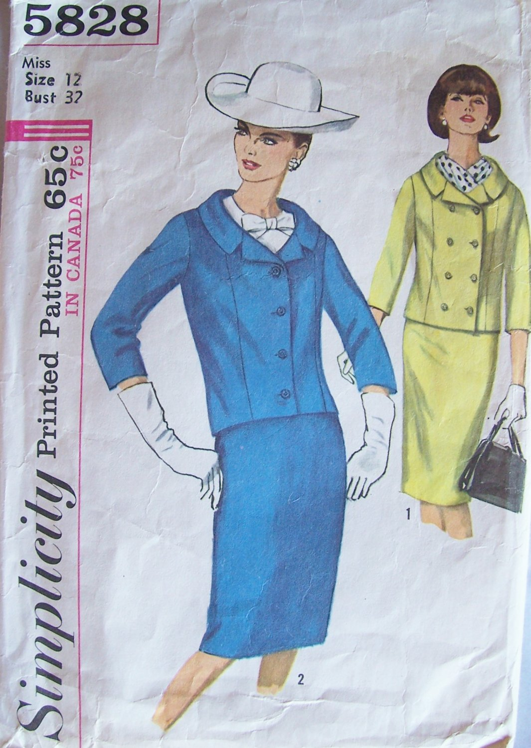 Vintage 60s Simplicity 5828 Double Breasted Jacket Slim Skirt Suit Dress Pattern Size 12