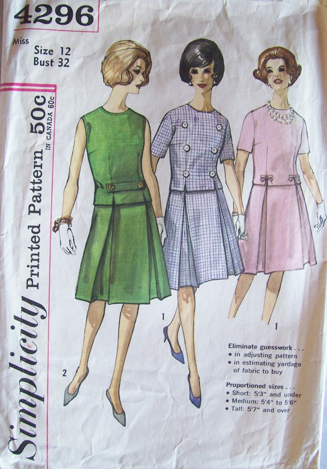 Vintage 60s Simplicity 4296 Inverted Pleat Skirt Cropped Top Dress Pattern Size 12