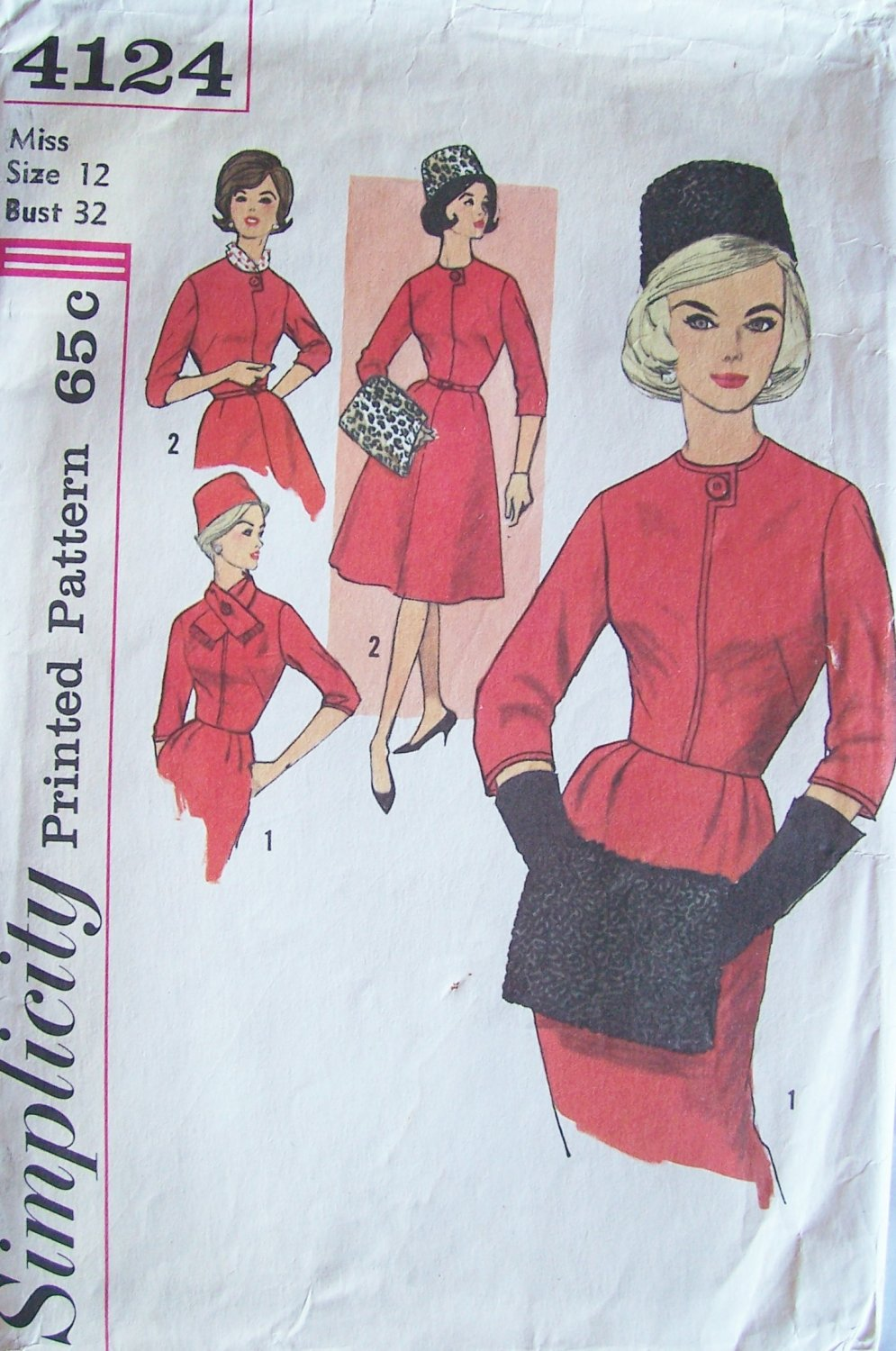 Vintage 60s Simplicity 4124 Dress Scarf Muff and Hat Sewing Pattern Size 12 Full or Slim Skirt