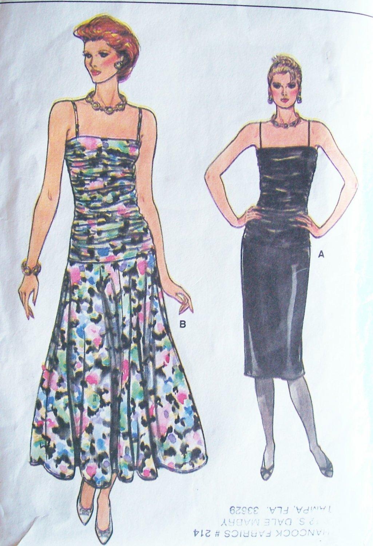 Vintage 80s Vogue 9323 Dropped Waist Shirred Bodice Evening Dress Pattern Uncut Size 12-16