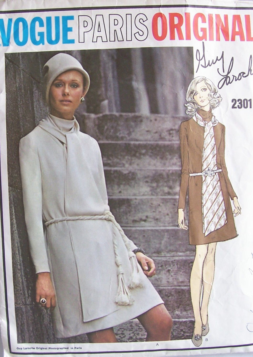 Vintage Vogue 2301 Paris Original Guy Laroche Cowl Neck Straight Dress Pattern Size 12