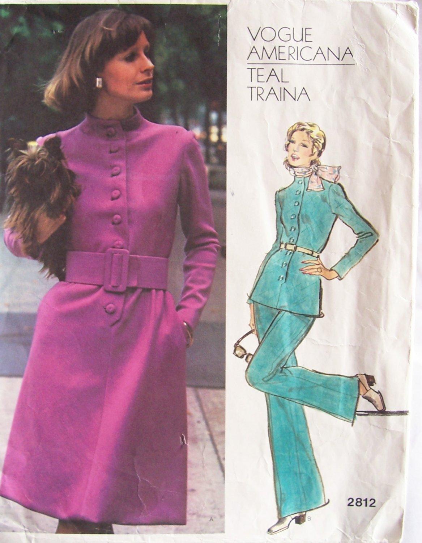Vintage 70s Vogue 2812 Americana Teal Traina Standing Collar Tunic Dress Pants Pattern Bust 32.5
