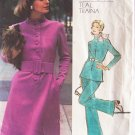 Vintage 70s Vogue 2812 Americana Teal Traina Standing Collar Tunic Dress Pants Pattern Bust 32.5