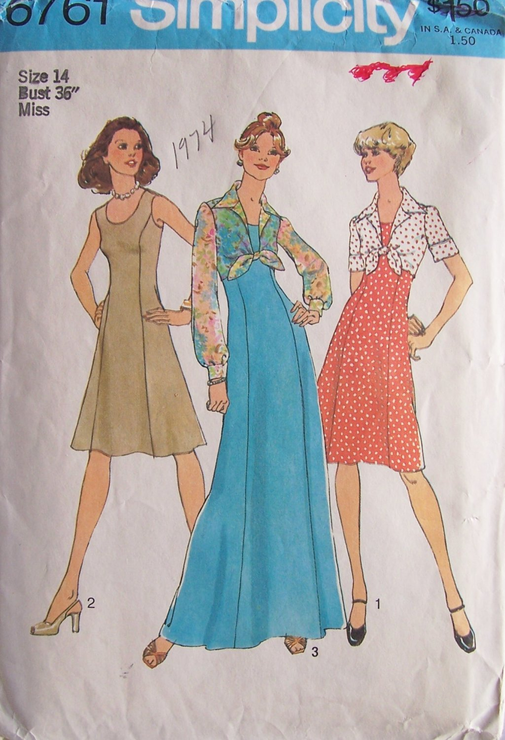 Vintage 70s Simplicity 6761 Princess Seamed Maxi Dress and Jacket Pattern Uncut Size 14 Bust 36