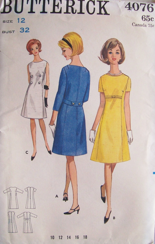 Vintage 60s Butterick 4076 A-Line Dress Pattern Uncut Size 12 Bust 32 Sleeveless or Short